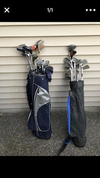 Two black and blue golf bags Yelm, 98597