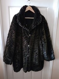 Laura Plus Reversible Faux Fur Coat, Chocolate Bro TORONTO