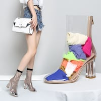 APOZLO BOOPDO DESIGN TRANSPARENT OPEN TOE HIGH HEEL SANDALS