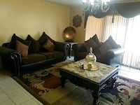 brown leather and fabric living room set New Orleans