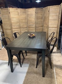 Oneill Dining Table Dark Denim Table, Gold Vintage Metal Chairs (4)