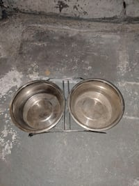 two stainless steel pet bowls Le Gardeur, J5Z 3T8