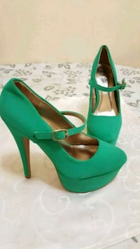 pair of green suede platform stilettos Vaughan, L4H 2L3