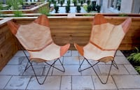 Butterfly (BKF style) MCM leather and fabric chairs, metal structure MONTREAL