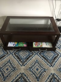 rectangular brown wooden framed glass top coffee table Toronto, M6N 4T2