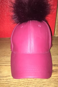 Burgundy fuzz ball hat Lancaster, 93535