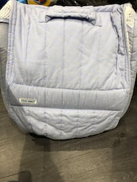 teal and yellow spotted diaper bag