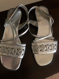 Silver open toe ankle strap sandals