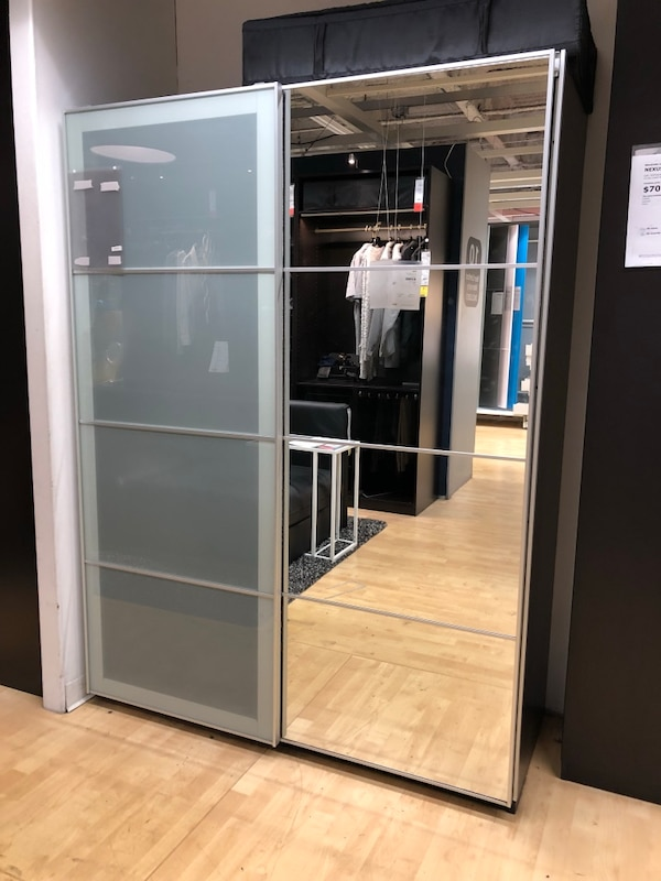 new style 115c2 e5866 Ikea PAX customized wardrobe with a frosted glass and mirror sliding doors.  Used for a year, in great condition! Original price of the customized ...