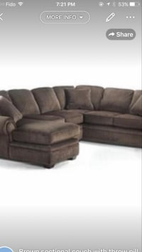 Brown sectional nicely used smoke and pet free going cheap for 600$  Mississauga, L5B 4P9