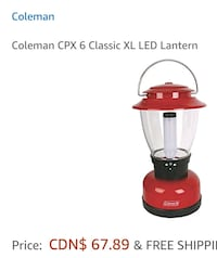 red and black Coleman CPX 6 classic lantern Toronto, M4H 1L7