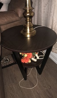 Round brown wooden pedestal table set Newmarket, L3Y 1E8