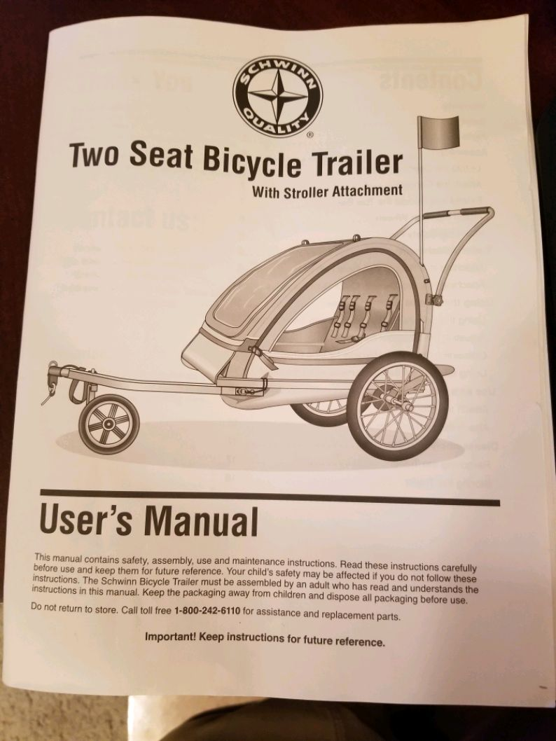 Photo Schwinn two seat bicycle trailer with stroller attachment in excellent