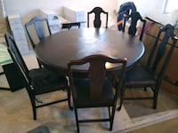 """Antique 53""""  round table with 6 chairs Chesapeake, 23322"""