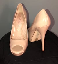 pair of white leather peep-toe platform stilettos New York, 10006