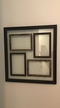 brown wooden glass collage photo frame