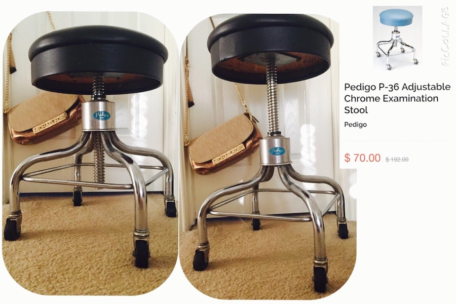 MORE INFO & VINTAGE Pedigo Chrome Swivel Adjustable Medical Exam Stool Chair ... islam-shia.org