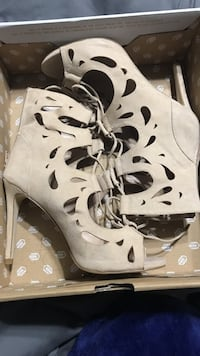 suede high-heeled open-toe lace-up booties