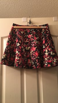 red and black floral midi skirt