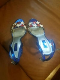 pair of blue open-toe ankle sandals New York, 10036