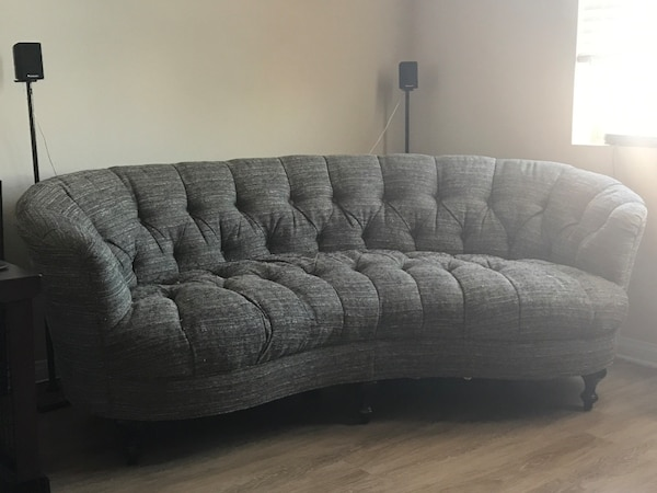 Stylish Grey Curved Tufted Handmade Sofa
