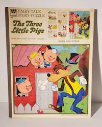 "1973 Whitman Fairy Tale Story-Puzzle ""The Three Little Pigs"" 4633A"