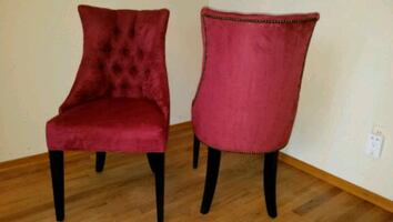 2 cranberry chairs