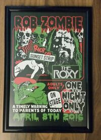 Rob Zombie Rare Roxy show framed lithograph Los Angeles, 91367