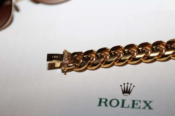 ICED OUT 12mm Cuban Miami Link Chain Bracelet 18k Electroplated ce51a4d5-542f-4140-8b37-ec5a53f4879f