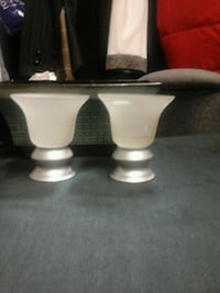 2 white glass and steel candle holder Kirkland, H9J