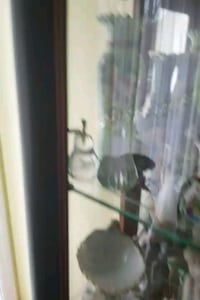 brown wooden framed glass display cabinet Montreal, H3R 3L4