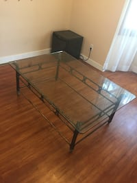 Black metal base glass top table Calgary, T3H 0R9