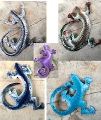 """Handcrafted Geckos metal wall art decor hand painted sizes 2.4ft, 1.4ft, 1ft, 9"""" Lauderdale-by-the-Sea, 33308"""