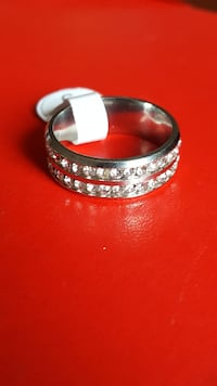 Two Line Crystal Silver Ring Brampton