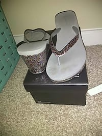 pair of gray-and-black sandals