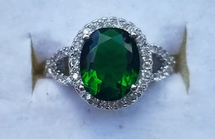 oval emerald and cz  ring