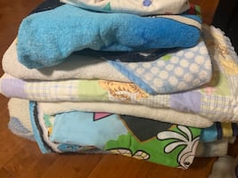 Baby and toddler blankets, hooded towels, and fish shower curtain