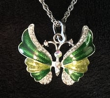 Crystal Green and Yellow Butterfly Necklace