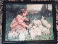 Feeding the Rabbits by Frederick Morgan (custom framed  puzzle) Milton