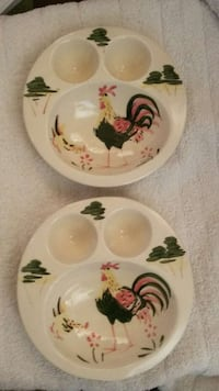 ANTIQUE TWO CERAMIC ROOSTER BREAKFAST PLATES