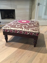 brown and red floral ottoman
