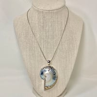 Sterling Silver Fossil Snail Shell Pendant on Sterling Rope Chain Ashburn, 20147