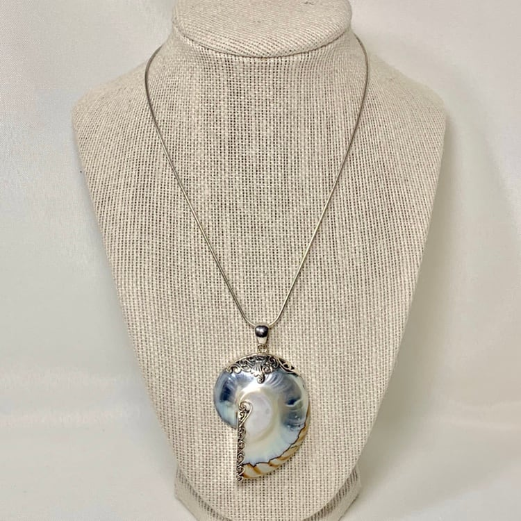 Vintage Sterling Silver Fossil Shell Pendant on Sterling Rope Chain