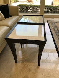 square black wooden framed glass top table Chantilly, 20166