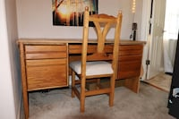 Solid oak executive desk and chair