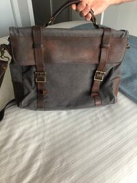 Canvas and leather men's laptop case