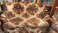 brown and white floral fabric 2-seat sofa Brant, N0B