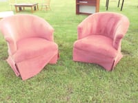 two pink fabric sofa chairs Gainesville, 20155