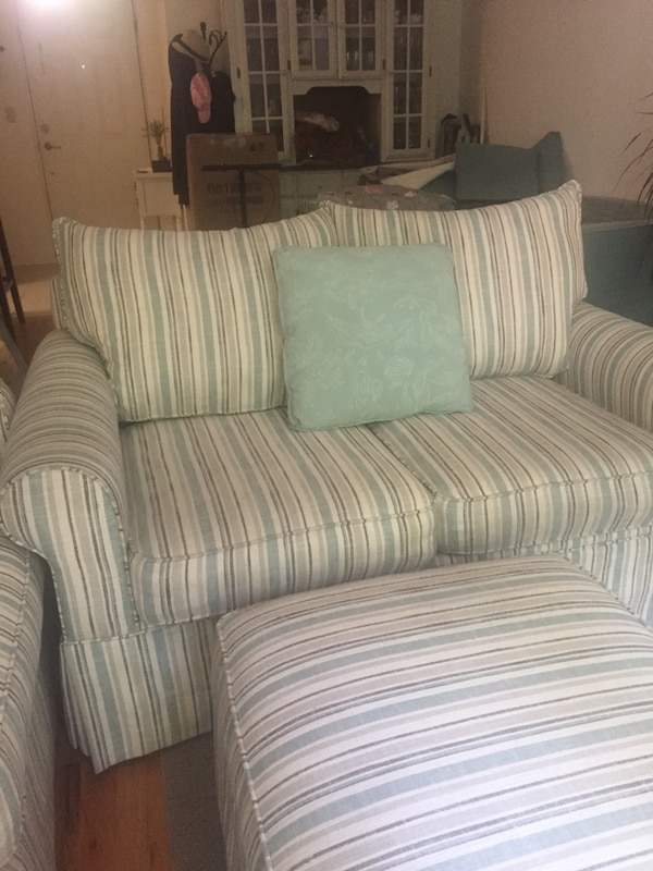 White And Green Striped Fabric Sofa Chair