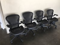 Aeron Chair $400 all sizes available Fully loaded Black on Black  Hayward, 94544